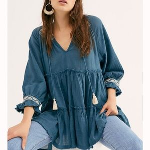 Dreamweaver Embroidered Tunic by Free People, Blue